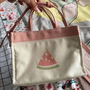 Lauren Conrad watermelon mini canvas tote purse